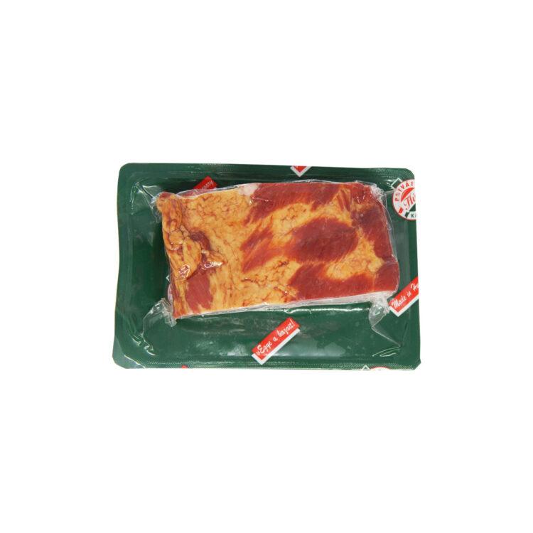 Priváthús füstölt főtt erdélyi szalonna darabolt vákuumfóliában